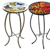 Hand Painted Glass Top Patio Tables