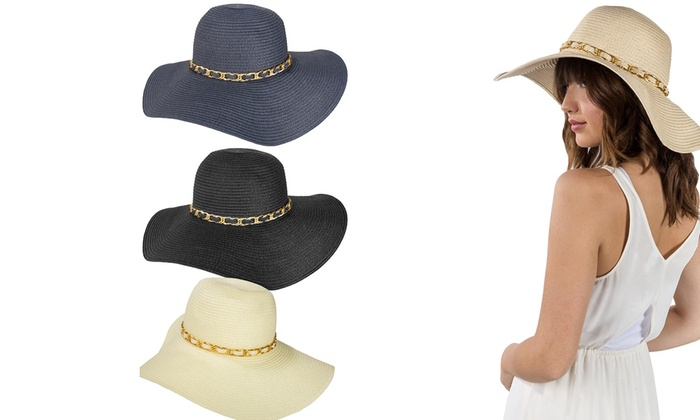 a4f3a5f6 Women's Chain Accent Floppy Straw Sun Hat with Wide Brim