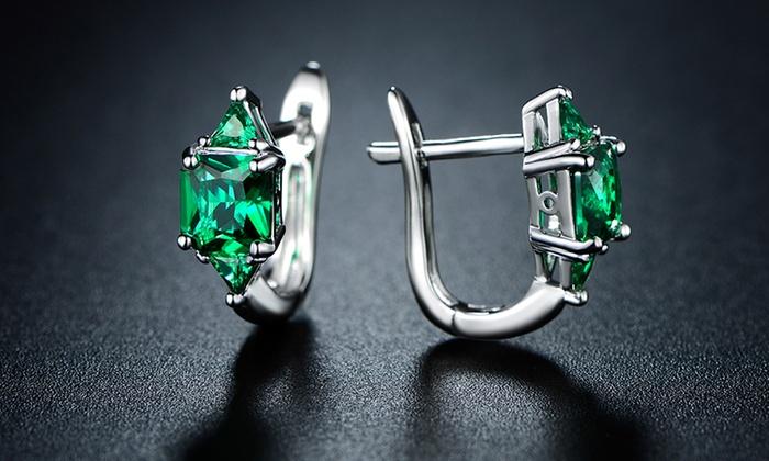 3 00 Ctw Princess Cut Emerald Hoop Earrings By Sevil