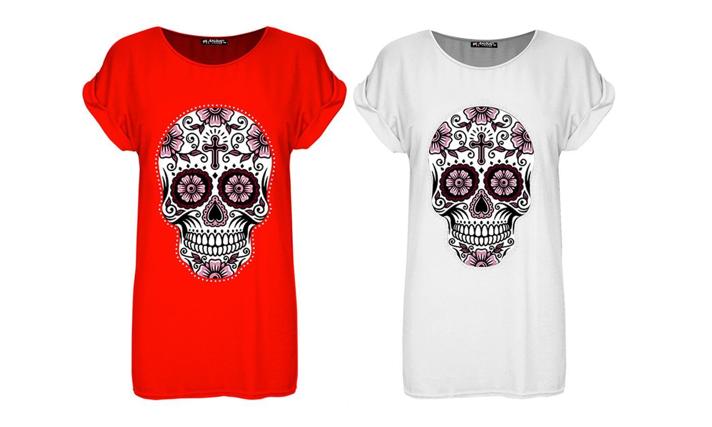 Oops Pink Skull Flowers T-Shirt