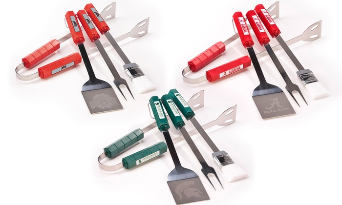 NCAA 4-Piece Stainless Steel Barbecue-Tool Set