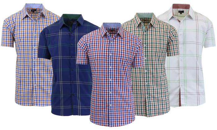 Men's Slim-Fit Short-Sleeve Plaid Shirts
