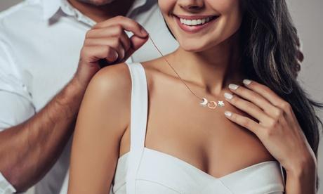 1, 2 o 3 collares de plata de ley con colgante de corazón, luna y estrella