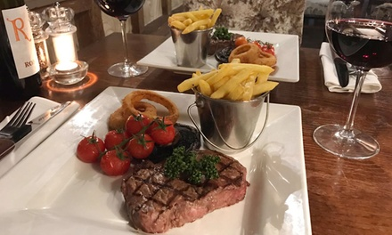 TwoCourse Steak Meal and Peach Bellini or Glass of Wine for Two or Four at The Riverside Inn