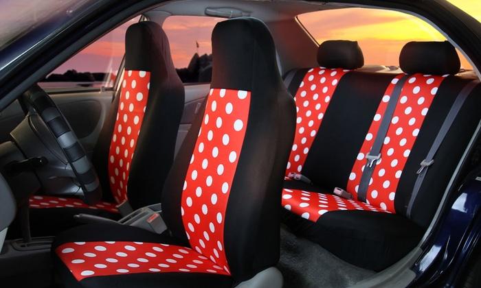 Full Set Of Flat Cloth Polka Dot Car Seat Covers