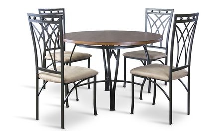 Mirabella Wood and Metal 5-Piece Contemporary Dining Set