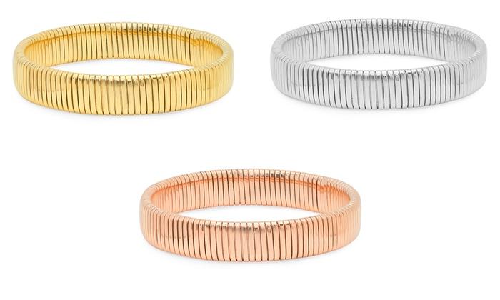 18k Gold Plated Or Silver Tone Omega Stretch Bracelet