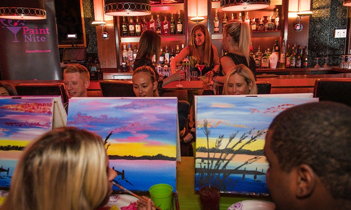 paint nite event at local bar paint nite groupon