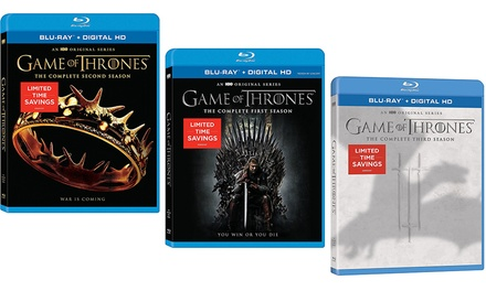 Game of Thrones Season 1, 2, or 3 on Blu-ray or DVD
