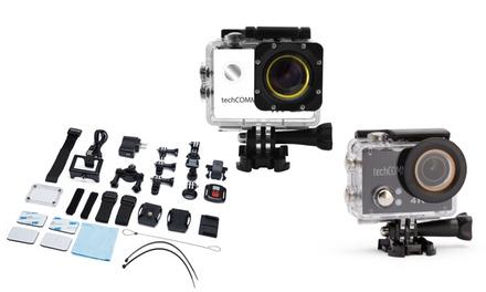 TechComm 4K Ultra HD Waterproof Action Camera with Accessories Bundle