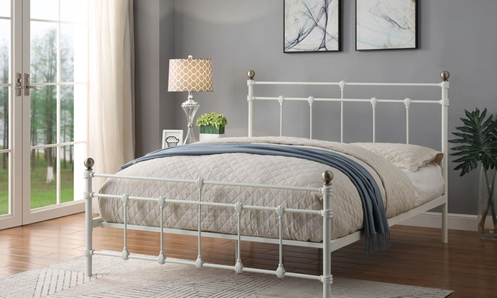 Trentham Vintage-Style Bed Frame with Optional 23cm Sprung Mattress