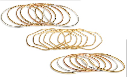 7-Pack of Bangles in 18K Gold, Rose Gold, and Silver Plated Sterling Silver. Multiple Styles Available.