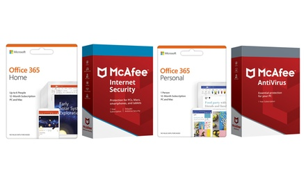 1 anno di Microsoft Office 365 Personal e McAfee Antivirus o Microsoft Office 365 Home e McAfee Internet security