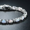 White Fire Opal and Diamond Accent Tennis Bracelet by Peermont