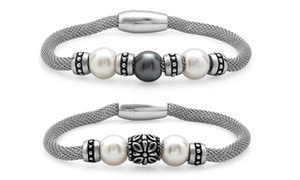 Genuine Freshwater Pearl Bracelet with Stainless Steel Mesh Band