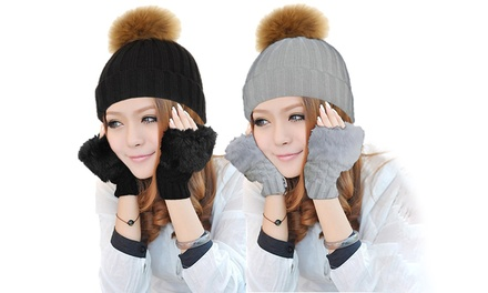 PomPom Hat with Fingerless Gloves
