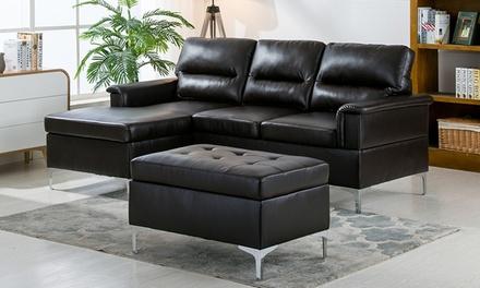 Kinsley sectional set 3 piece groupon goods for Sectional sofa groupon