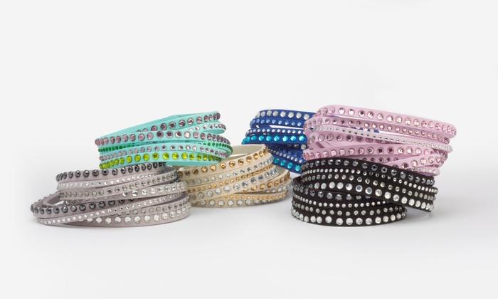 Wrap Bracelets With Swarovski Elements In Vegan Leather