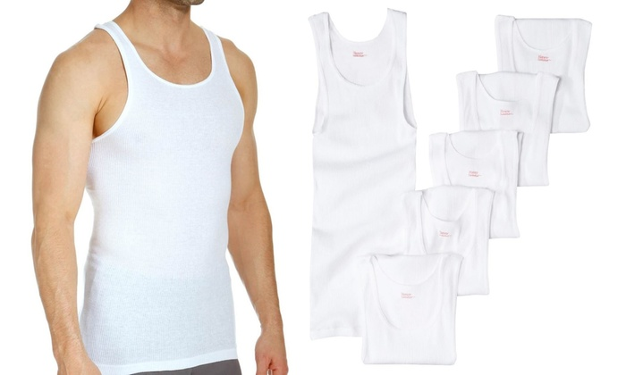 7aed5905 Up To 58% Off on Men's White Tank Tops(6-/12-Pk.) | Groupon Goods