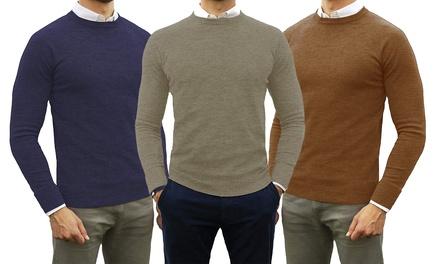 2 maglioni girocollo da uomo in misto cashmere disponibili in vari colori e 4 taglie