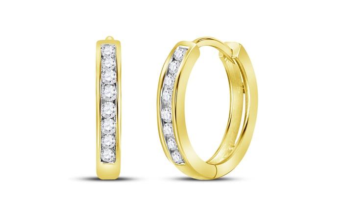 c11c5fe32e361 1/4 CTTW Women's Round Diamond Hoop Earrings in 10K Yellow Gold by Sonneta