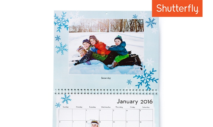 Shutterfly: $9.99 for an 8x11 Custom 12-Month Wall Calendar from Shutterfly (60% off)