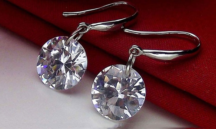 Made with Swarovski Elements Crystal Drop Sterling Silver Earrings