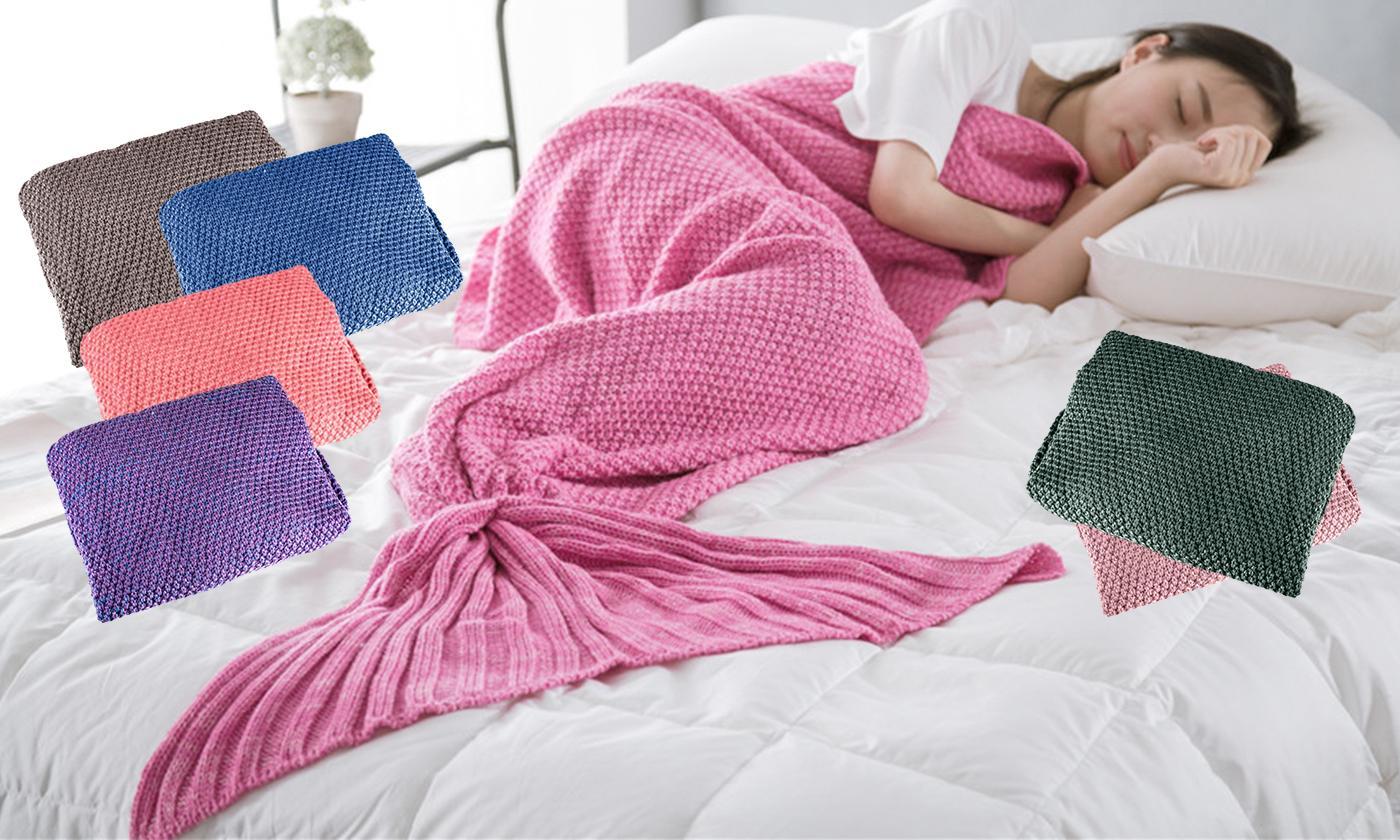 Mermaid Tail Plain Chunky Knit Blanket