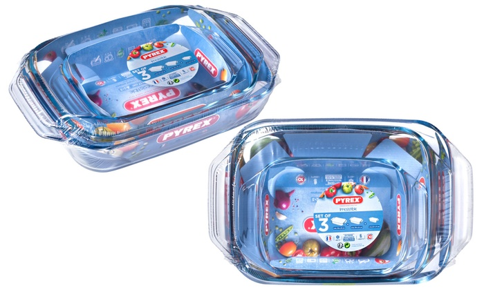 One or Two Pyrex Pyrex Three-Piece Roaster Sets