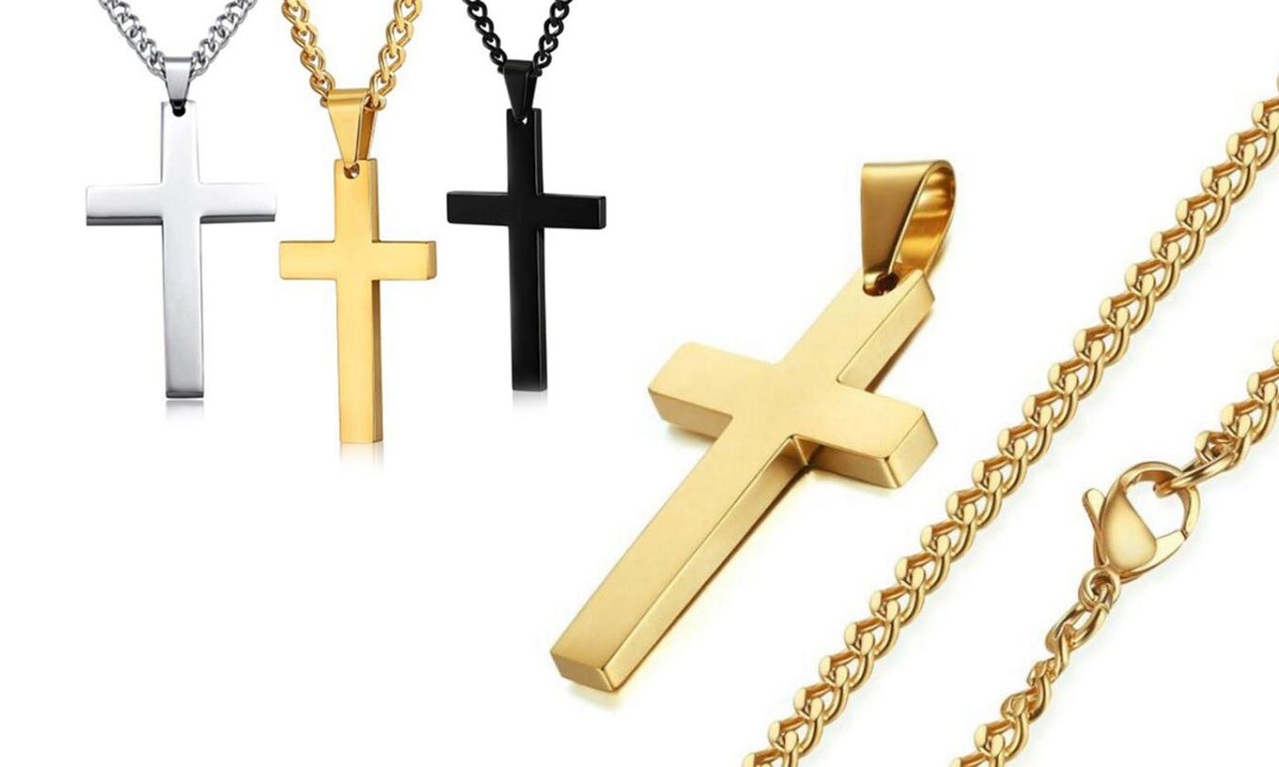 One or Two Stainless Steel Necklaces with Cross
