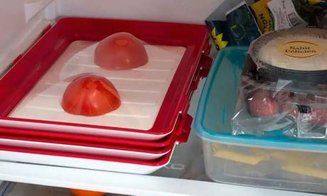 1 o 6 bandejas de almacenamiento apilables de color rojo