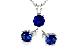 3.00 CTW Simulated Sapphire Necklace and Studs Set at 3.00 CTW Simulated Sapphire Necklace and Studs Set, plus 6.0% Cash Back from Ebates.