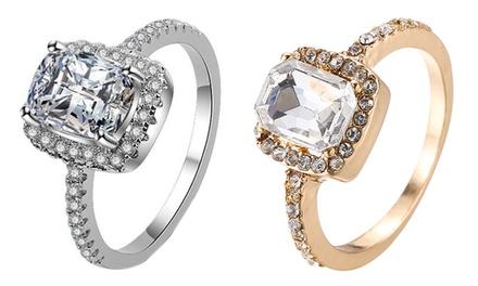 Bague carrée, anneau orné de cristaux