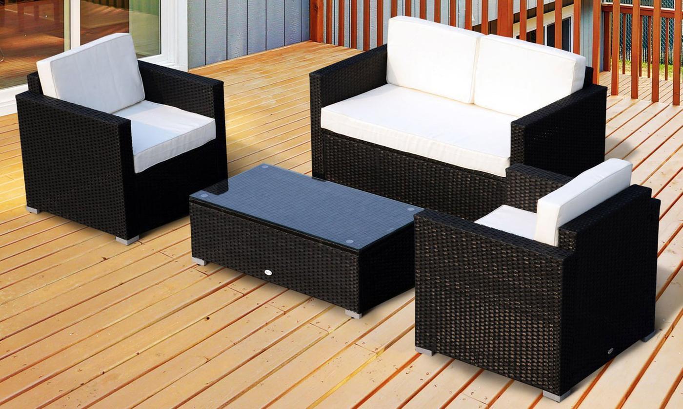 Outsunny Four-Piece Rattan-Effect Sofa Set (£240)