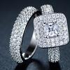 Double Princess-Cut Cubic Zirconia Engagement Ring Set