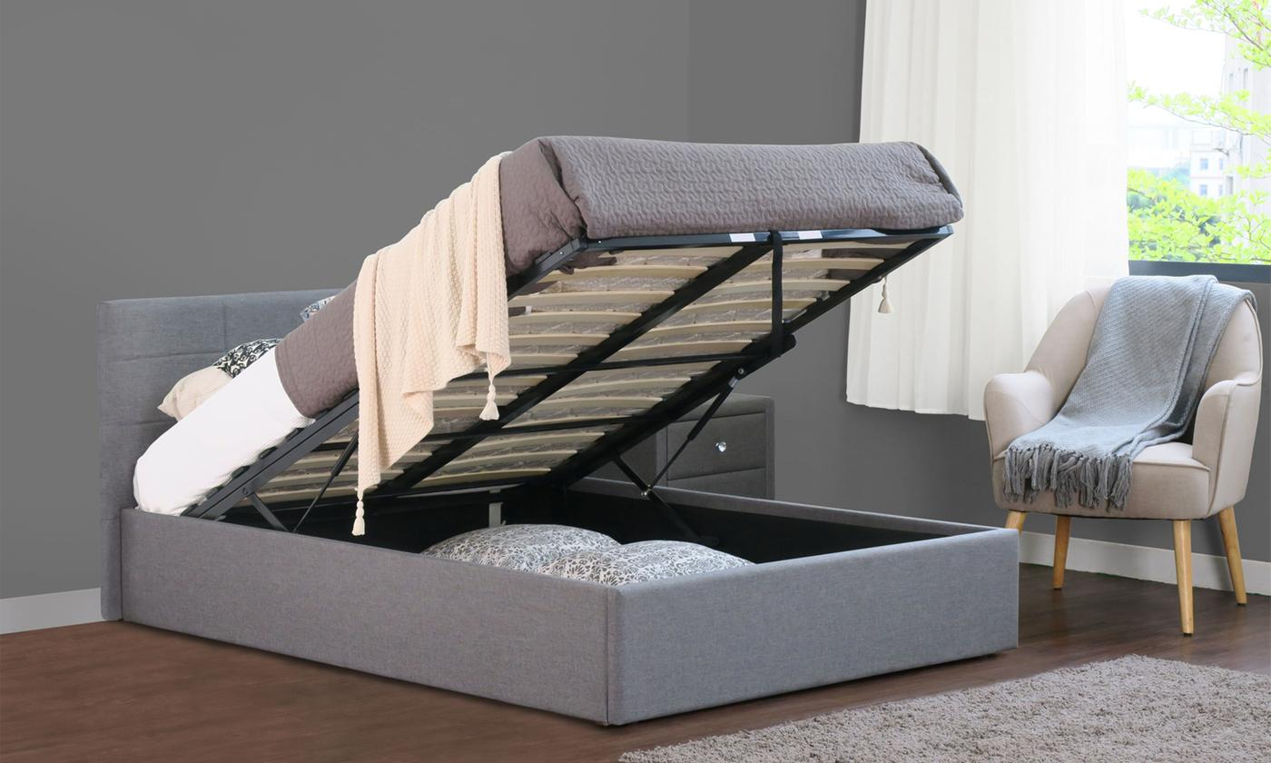 Fabric Ottoman Bed Frame with Optional Mattress in Choice of Colour and Size (£280)