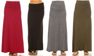 Isaac Liev Women's Banded Fold-Over Maxi Skirt