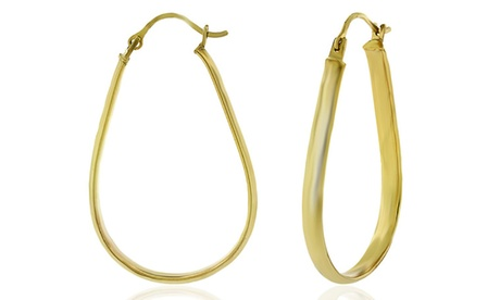 14K Gold Flat Oval Hoop Earrings