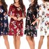 Floral Cross-Back Crushed Velvet Dress with Pockets