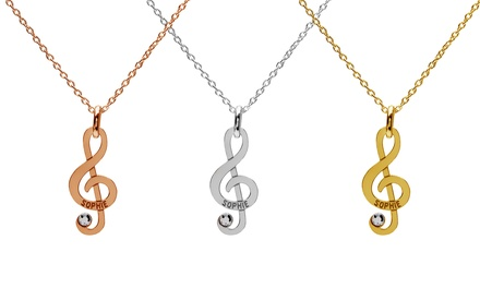 One, Two or Three Treble Clef Necklaces with Crystals from Swarovski® With Free Delivery