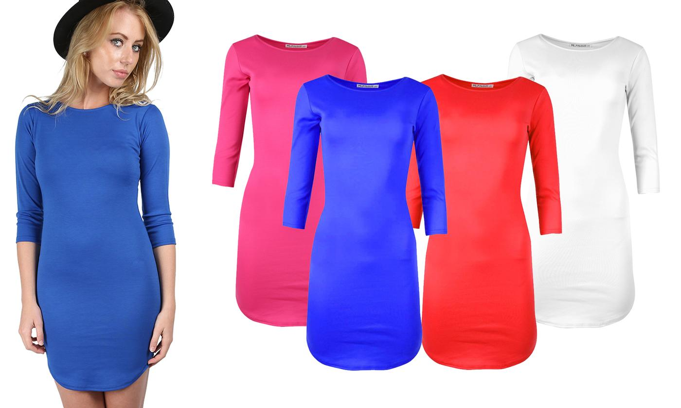 Oops Curved Hem Bodycon Dress