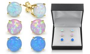 18K Gold Over Sterling Silver Opal Stud Earring Set by MUIBLU Gems