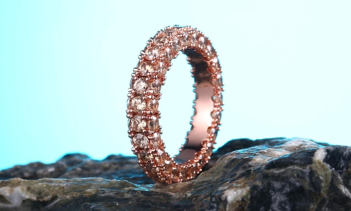 fb9ab5ff3 18K Rose Gold Plated Three-Row Eternity Ring Made with Swarovski Elements  by Barzel