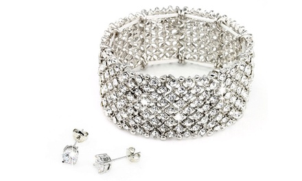 One or Two Nine-Row Bracelet and Earrings Sets with Swarovski Elements