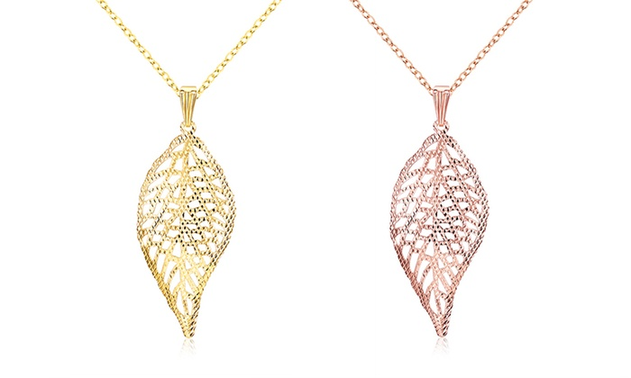 18K Gold-Plated Filigree Leaf Drop Necklace by Jewelry Elements: 18K Gold-Plated Filigree Leaf Drop Necklace by Jewelry Elements