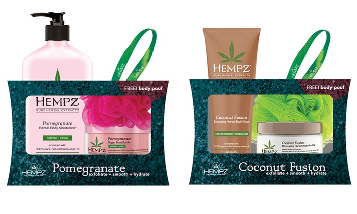 Hempz Skincare Gift Set with a Free Body Pouf