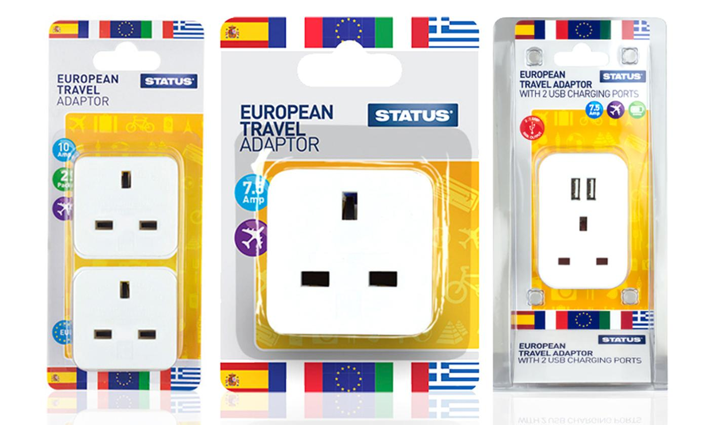 Status European UK to EU Travel Adaptors