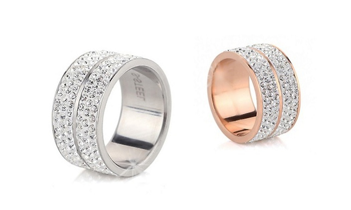 Accessori Da Bagno Con Swarovski : Anello con cristalli di swarovski® groupon