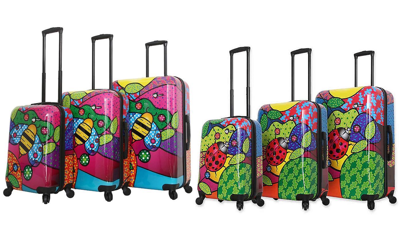 Three-Piece Mia Toro Printed Hardshell Luggage Set