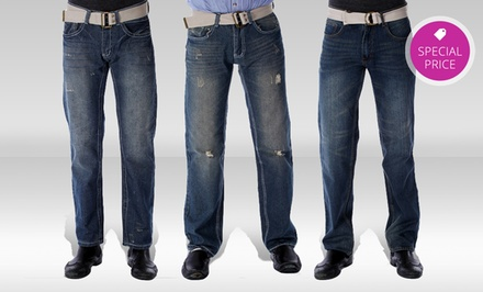 Red Snap Medium- or Dark-Wash Men's Denim. Multiple Styles Available.